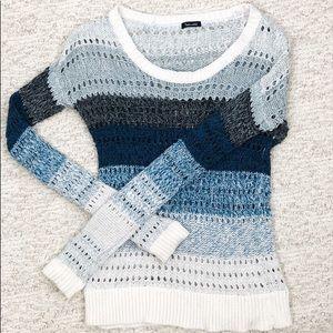 Splendid White Blue Knit Sweater Small